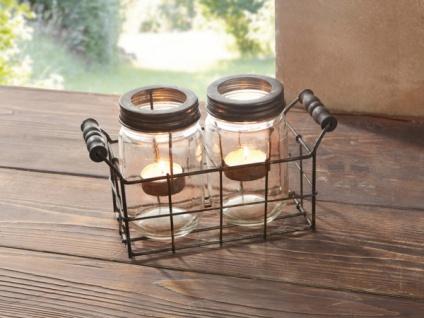 3tlg Windlicht Set 'Einmachglas? Glas Kerzen Halter Ständer Teelicht Weihnachten