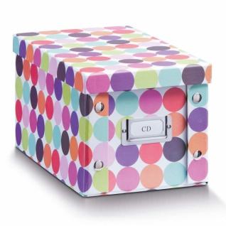 """2x Zeller Aufbewahrung Box mit Deckel """" Dots"""", bunt, für 20 CD Kiste Karton Case"""