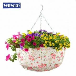 WENKO Blumen Ampel Ø 36 cm, mit Rosen Deko, Hänge Pflanz Korb Topf Schale