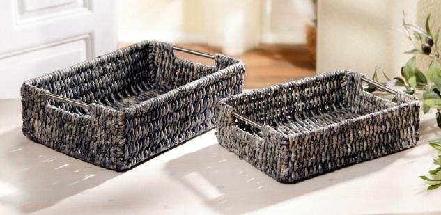 2 Körbe aus Maisstroh geflochten, grau, Obst Brot Deko Aufbewahrung Regal Korb