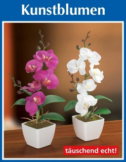 2er Set Orchidee im Topf, weiß + rosa, Textil Blüten, Kunst Blume Pflanze