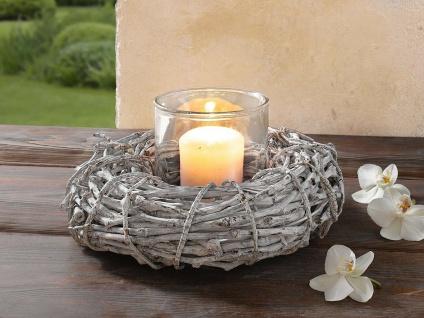 Glas Windlicht mit Reben Holz Kranz, weiß, Tisch Kerzen Ständer Vase Natur