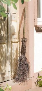 Deko Besen aus Birken Reisig, 125 cm hoch, Hexenbesen, Holz Eingangs Dekoration