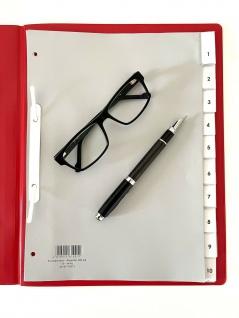 10x Hetzel Kunststoff Register A4 10 tlg. grau, Blanko Ordner Trennblätter