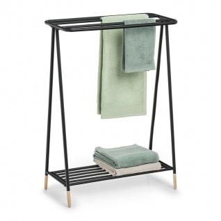 Design Handtuch Ständer aus Metall & Holz, schwarz, mit Ablage Regal Halter