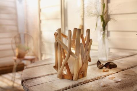 Windlicht 'Maritim? Holz natur Glas Garten Deko Kerzen Teelicht Halter Ständer