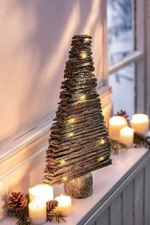 Holz Tanne mit LED Lichterkette, 40cm hoch, Weihnachts Advents Leucht Deko Figur
