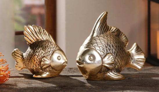 2 Deko Figuren Gold Fisch im Set 10 & 13 cm, maritime Schrank & Tisch Dekoration