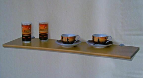 """Regal Set """" Enna"""" 80x25 cm buche, Board + 2 Wand Clips Halterungen silber - Vorschau"""
