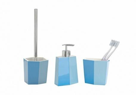 3tlg. WENKO Bad Set BiColor blau WC Garnitur Seifenspender Zahnputzbecher