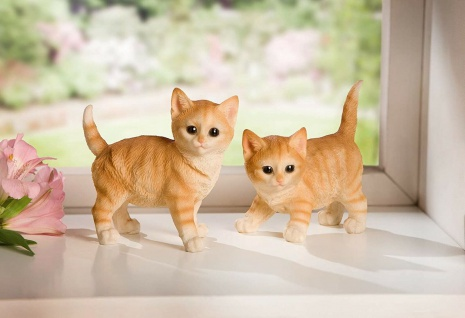 """2 Kätzchen Figuren """" Tiger"""", 12cm hoch, Garten Balkon Deko Baby Katze Skulptur"""