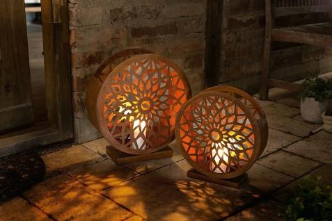 """2x Windlicht """" Ornament"""" aus Metall in Rost-Optik & Glas, Kerzen Halter Ständer"""