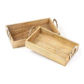 2er Set Servier Tablett aus Mango Holz, im Antik Look, mit Griffen