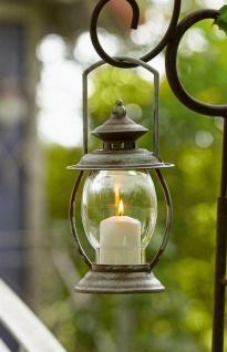 """Laterne """" Country"""" Vintage Metall Wind Licht mit Glas & Henkel, Retro Garten Deko"""