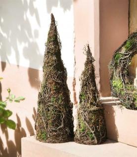 """2 Deko Kegel """" Moos"""" aus Birkenreisig, 46 + 60 cm hoch, Natur Garten Terrasse"""