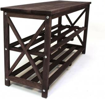 Schuhbank aus Holz, dunkel braun, 2 Ebenen, Flur Sitz Bank, Schuh Regal Ablage - Vorschau 4