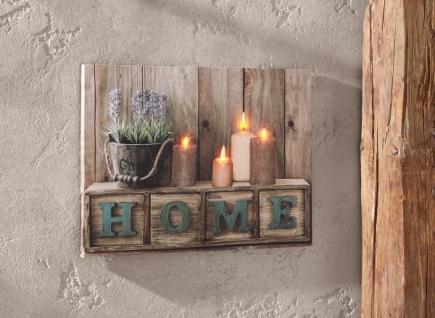 "LED Bild "" Home"", Leinwand mit Beleuchtung, flackernde Kerzen, Wand Leucht Deko"
