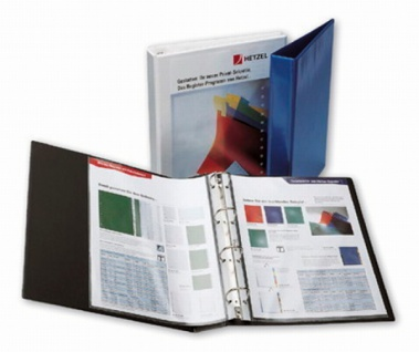 10x HETZEL Präsentations Ringbuch A4 blau 4 Ring Ordner Prospekt Album Hefter