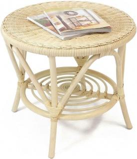 Rattan Tisch natur lackiert, rund Ø 62 cm Beistell Terrassen Balkon Couch