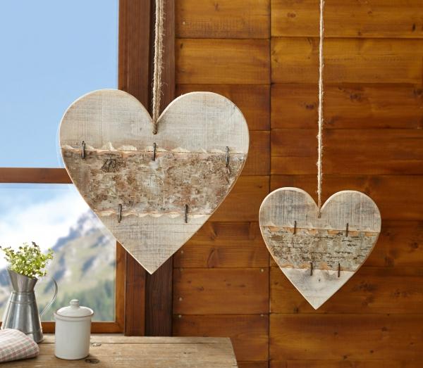 2er herz h nger 39 romance aus holz deko natur flecht wand. Black Bedroom Furniture Sets. Home Design Ideas