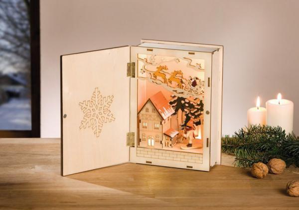led buch 39 winterlandschaft 39 holz weihnachten erzgebirge. Black Bedroom Furniture Sets. Home Design Ideas