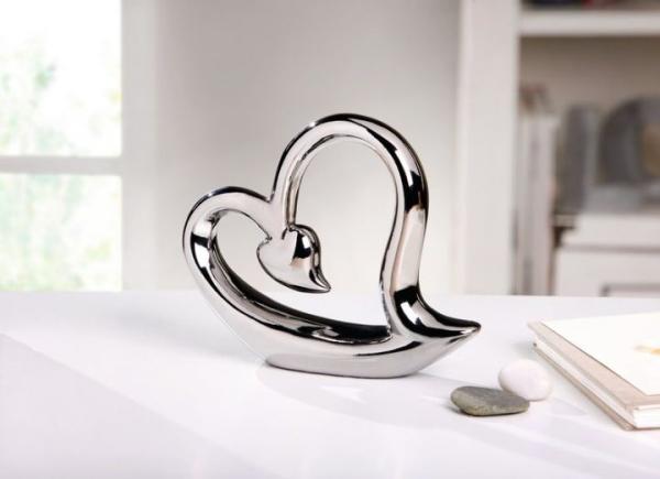 Skulptur Modern herz silver line silber porzellan deko figur tischdeko skulptur