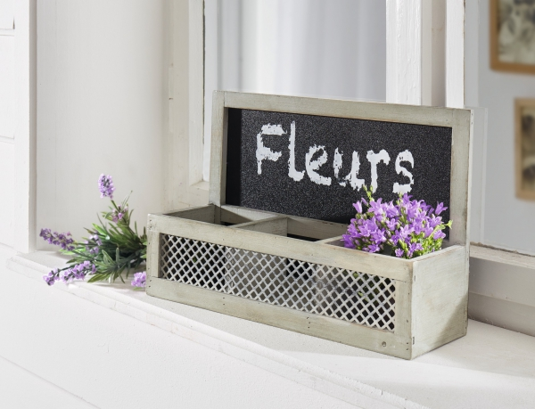 Pflanzer Fleurs Aus Holz Grau Wand Pflanz Blumen Korb Topf Kasten