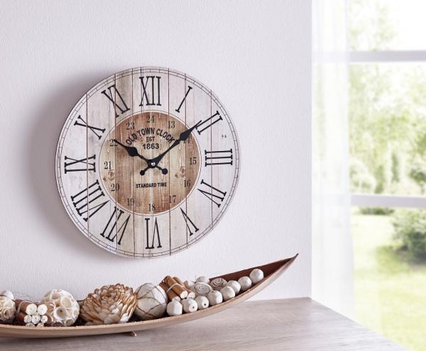 Wand Uhr \'Country? aus Holz Ø 34 cm Analog Küchenuhr Wohnzimmer Deko Western