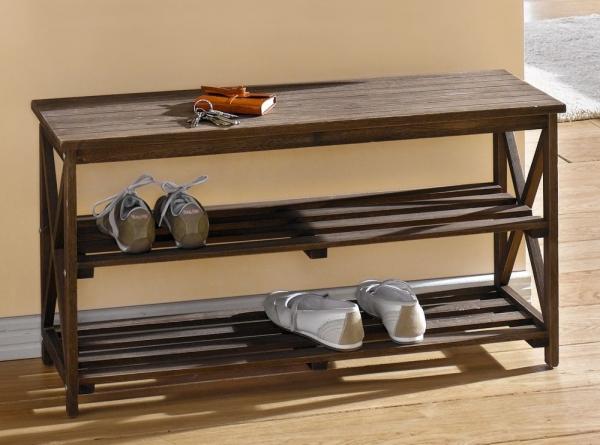 schuhbank aus pappel holz dunkelbraun 2 ebenen sitzbank schuhregal schuhablage kaufen bei. Black Bedroom Furniture Sets. Home Design Ideas