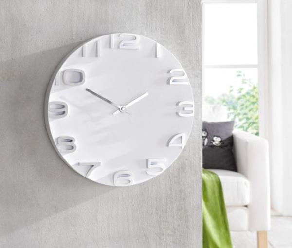 Wanduhr 'Future' Weiß Wohnzimmer Küchen Wand Uhren Zimmer Bürouhr
