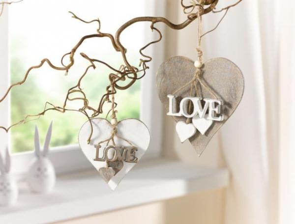 Fensterdeko Holz 2er deko herz holz landhausstil hänger fensterdeko hängedeko
