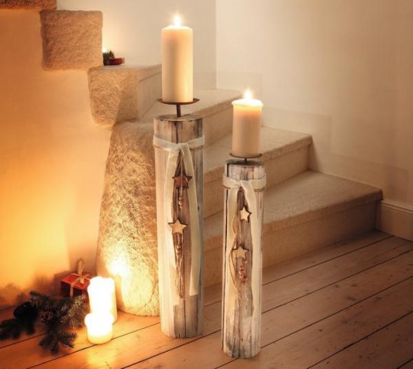 Kerzenhalter Weihnachten.2er Kerzensäule Holzsternchen Holz Kerzenständer Kerzenhalter Weihnachten Neu