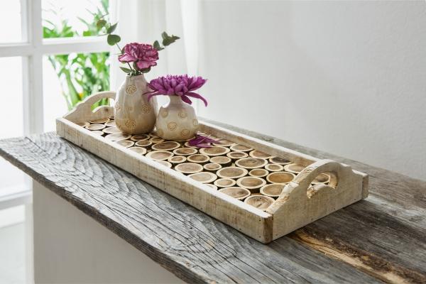 Tablett Holzscheiben Aus Holz Mit Griffen Tisch Beistell Couch