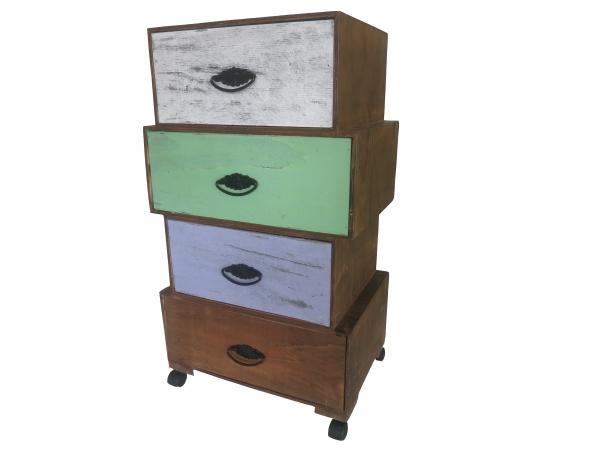 Vintage Kommode Mit 4 Schubladen Schrank Auf Rollen Retro Shabby Sideboard