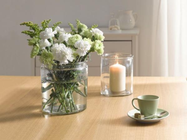 Deko Glas Klein Glasvase Windlicht Rund Kerzenglas Blumenvase