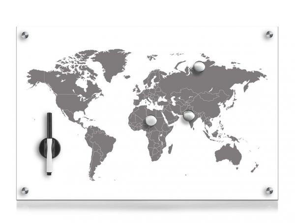 magnettafel weltkarte Glas Magnettafel Weltkarte 60x40 Schreibtafel Pinnwand Magnetboard  magnettafel weltkarte