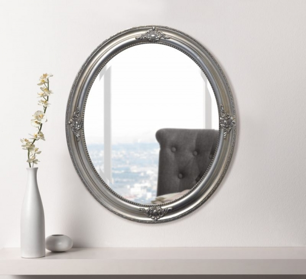 Spiegel bourgois holz rahmen in silber antik look neu deko wandspiegel oval kaufen bei - Spiegel oval silber ...