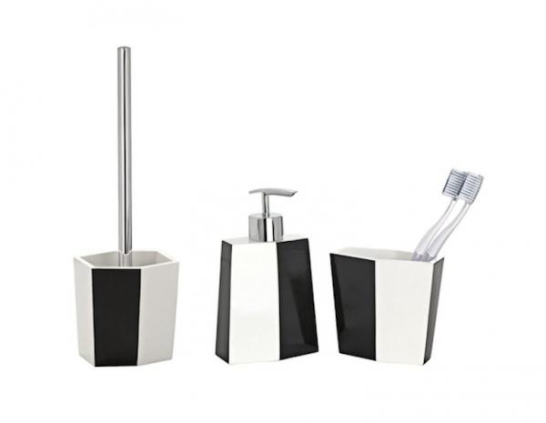 3tlg wenko bad set bicolor schwarz wei wc garnitur. Black Bedroom Furniture Sets. Home Design Ideas