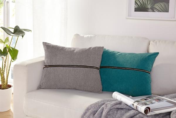Zierkissen Reißverschluss 40x50 Cm Grau Sofa Deko Couch Kissen