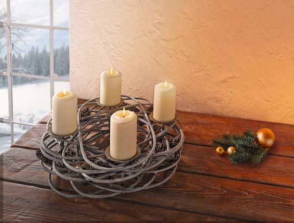 Adventskranz Deko adventskranz tannenzapfen windlicht kerzenhalter adventsbogen