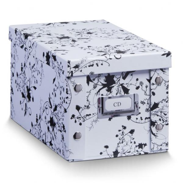2x zeller cd box mit deckel wei floral f r 20 cd 39 s aufbewahrung kiste karton kaufen bei. Black Bedroom Furniture Sets. Home Design Ideas