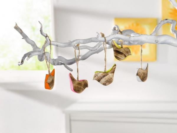 Fensterdeko Holz 5er deko hänger colour bird holz vogel hängedeko fensterdeko figur