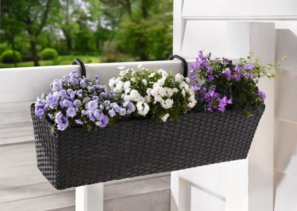 Balkon Pflanzkübel.Balkonpflanzer Polyrattan Schwarz Balkon Garten Rattan Pflanzkübel Blumenkübel