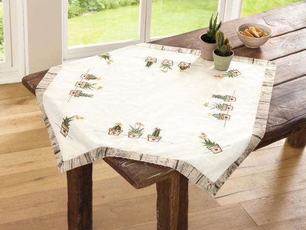 Dekoration Tisch.Tisch Decke Kakteen Mit Stickerei 85x85 Läufer Band Tuch Tafel Deko Dekoration