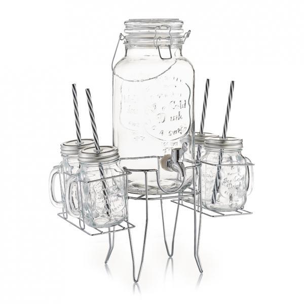 6tlg. Party Set Gläser, Getränkespender + Ständer Vintage Retro ...