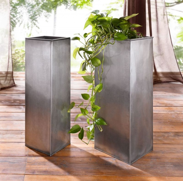 2er set metall pflanztopf titan 72 73 cm hoch neu. Black Bedroom Furniture Sets. Home Design Ideas