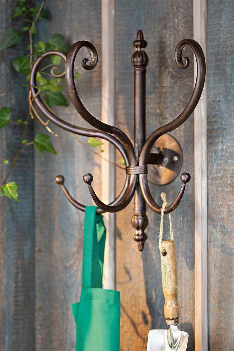 Wandgarderobe Garderobenhaken Haken Garderobe Metall weiß Shabby 5 Haken 46 cm