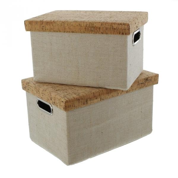 2er aufbewahrungsbox 39 kork mit deckel regal schrank deko. Black Bedroom Furniture Sets. Home Design Ideas