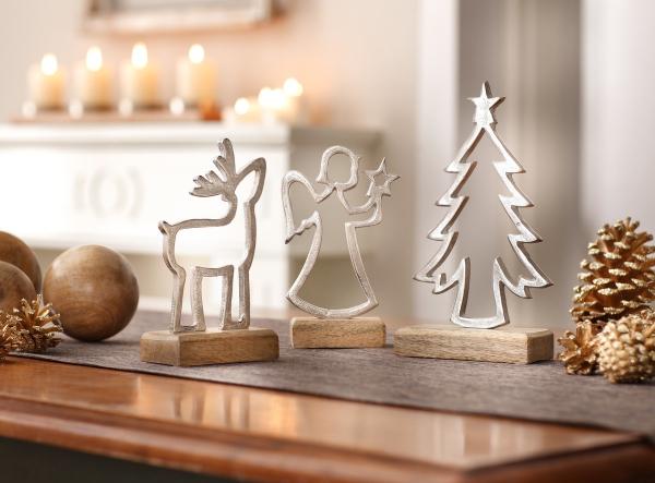 Holz Deko Weihnachten.3er Set Winterdeko Mangoholz Holz Deko Figur Weihnachten Engel Tanne Elch