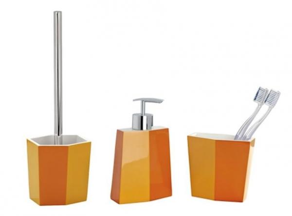 3tlg wenko bad set bicolor orange wc garnitur for Bad set seifenspender
